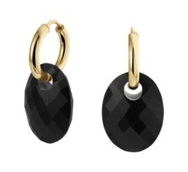 14 K Gouden (Klap) Creolen Met Onyx Hangers