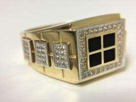 Grove 14 K Gouden Heren Ring Onyx / Briljantgeslepen Zirkonia - 7,6 g