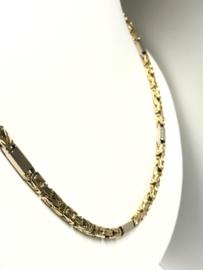 14 K Massief Gouden Koningsketting Byzantijns Witgouden Tussenliggers - 67 cm / 68,62 g
