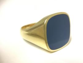 14 K Gouden Heren Zegelring Blauwlagen Steen - 8,15 g