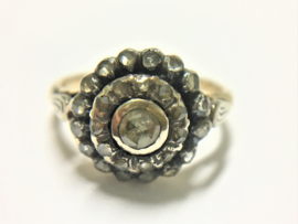 14 K Antiek Gouden Gouden Rozet Ring 0.50 crt Roosgeslepen Diamant