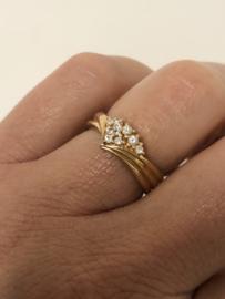 14 K Rosé Gouden Fantasie Ring Briljantgeslepen Zirkonia