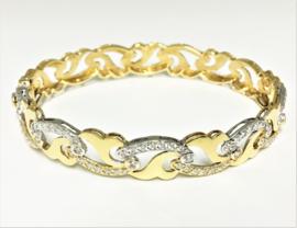 18 K Bicolor Gouden Fantasie Slaven Armband Heldere Briljantgeslepen Zirkonia