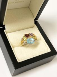 14 K Gouden Ring Edelstenen Amethyst Citrien Peridoot Diamant