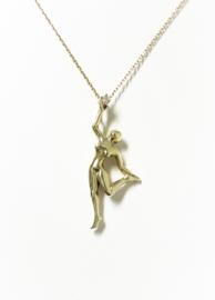 Handvervaardigd 14 K Gouden Collier Hanger Ballerina 0.02 Crt Diamant