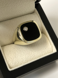 14 K Gouden Heren Zegelring Onyx / Briljantgeslepen Diamant - 11,1 g