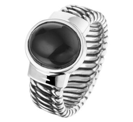 Geoxideerd Zilveren Bandring Cabochon Geslepen Onyx