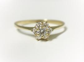 14 K Gouden Rozet Ring Briljantgeslepen Heldere Zirkonia