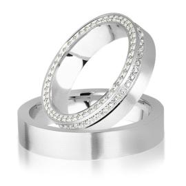 Trouwringen Witgoud 14 Karaat 0.44 Diamanten - Model FL09