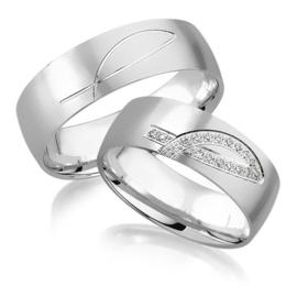 Trouwringen Witgoud 14 Karaat 0.09 Diamanten - Model FL101