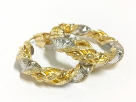 14 K Bicolor Gouden Wokkel Creolen Versace - 4 cm