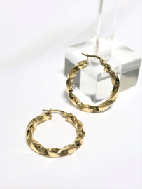 14 K Gouden Wokkel Creolen Versace Motief Meander - 2,8 cm