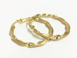 14 K Gouden Wokkel Creolen (mat / glans) - 3,7 cm