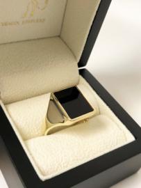 Antiek 14 K Massief Gouden Heren Zegelring Onyx / Rechthoek - 11,05 g