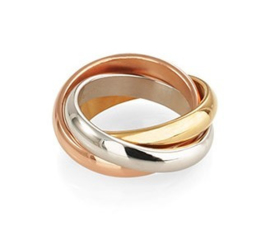 14 K Tricolor Gouden 3-Band Ring - 5,2 g / 16 mm