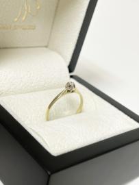 14 K Gouden Solitair Ring 0.05 crt Briljant Geslepen Diamant H / SI1