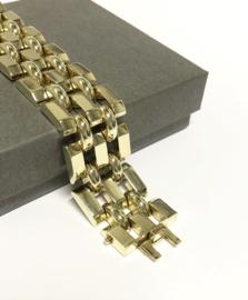 Brede 14 K Gouden Schakel Armband - 18,5 cm / 45,1 g