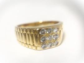 18 K Massief Gouden Heren Rolex Ring 0.50 Diamant F/IF - 17,25 g