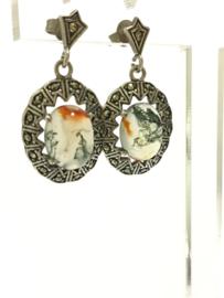 Antieke Set Zilveren Oorhangers / Ring - Dendriet Agaat / Markasiet
