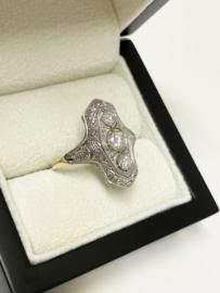 Art Deco Navette Diamond Ring 0.75 crt Diamant G/VVS2 - Jaren '30