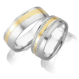 Trouwringen Bicolor Goud 14 Karaat 0.55 Diamanten - Model FL59