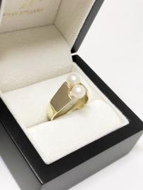 Handgemaakte 14 K Gouden Moi Et Toi Ring - Twee Parels