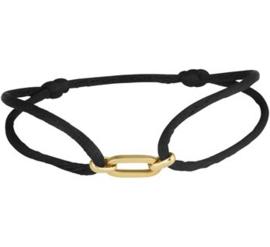 Zwart Gevlochten Armband 14 K Gouden Schakels (Verstelbaar)
