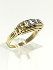 14 K Antiek Bicolor Gouden Rijring Briljantgeslepen Diamant