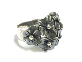 Zilveren Fantasie Ring - Bloemen (verstelbaar)