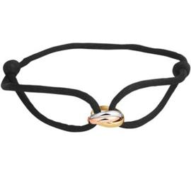 Zwart Gevlochten Armband Tricolor Gouden Schakels Cartier Stijl