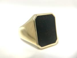 14 K Gouden Heren Zegelring (8-Kant) Heliotroop (Donkergroen)