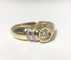 14 K Bicolor Gouden Solitair Ring 0.33 crt Diamant