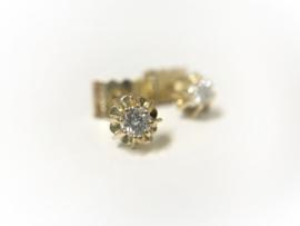 14 K Gouden Solitair Oorstekers 0.16 crt Briljantgeslepen Diamant TW-VVS1