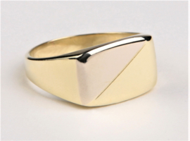 14 K Bicolor Massief Gouden Heren Zegelring - 9 g