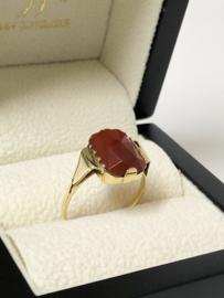 14 K Antiek Gouden Ring Facetgeslepen Carneool