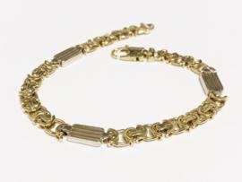 14 K Bicolor Gouden Koningsarmband - 22,5 cm / 23,75 g