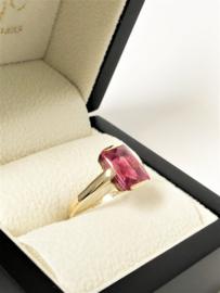 Handvervaardigd Antiek Gouden Ring Robijn - Jaren '20