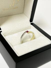 14 K Bicolor Gouden Dames Ring 0.08 Briljantgeslepen Robijn