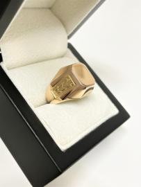 Handvervaardigd 14 K Rosé Gouden Heren Cachet Ring Monogram Zegel - Bewerkt