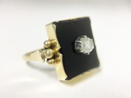 14 K Antiek Gouden Dames Zegelring - Onyx / Roosdiamant