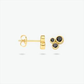 14 K Gouden Oorknoppen Briljant Geslepen Zwart Cubic Zirkonia