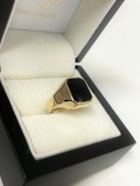 14 K Gouden Heren Zegelring Rechthoek (8-Kant) - Onyx
