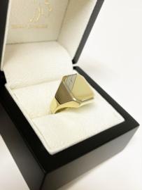 14 K Bicolor Gouden Heren Zegelring Briljantgeslepen Zirkonia