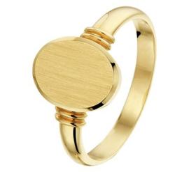 14 K Gouden Graveer Ring Dames - Mat Gediamanteerd / Mt 17,5