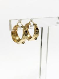 14 K Gouden Creolen (bewerkt) Donkerrood Cubic Zirkonia - 2 cm