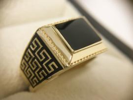 14 K Gouden Heren Ring Versace Meander Onyx - 8,45 g
