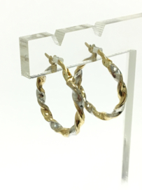 14 K Bicolor Gouden Twister Creolen - 2 cm