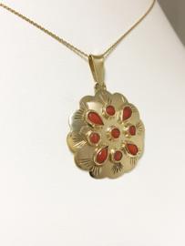 Antiek 14 K Gouden Rozet Hanger Bloedkoraal - 2,5 cm