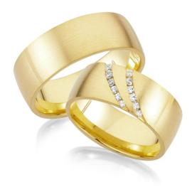 Trouwringen Geelgoud 14 Karaat 0.24 Diamanten - Model FL38