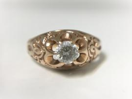 Antiek 14 K Rosé Gouden Solitair Ring 0.45 crt Briljantgeslepen Diamant